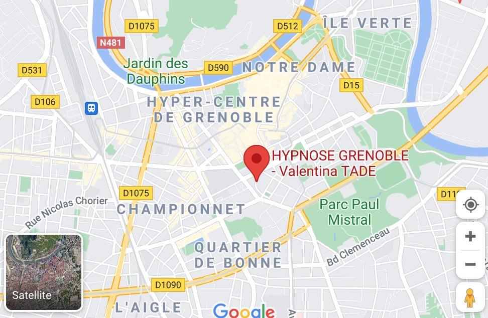 Plan google maps cabinet Valentina TADE Hypnose Ericksonienne